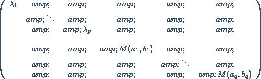 \left(\begin{array}{cccccc} \lambda_1 & & & & & \\ & \ddots & & & & \\ & & \lambda_p& & & \\ \\ & & & M(a_1,b_1) & & \\ & & & & \ddots & \\ & & & & & M(a_q,b_q)\end{array}\right)