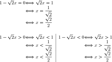\begin{array}{r @{ \Longleftrightarrow } l} 1-\sqrt{2}x=0\ &\ \sqrt{2}x=1\&\ x=\dfrac{1}{\sqrt{2}}\&\ x =\dfrac{\sqrt{2}}{2}\end{array}\\\\begin{array}{r @{ \Longleftrightarrow } l} 1-\sqrt{2}x>0\ &\ \sqrt{2}x<1\&\ x<\dfrac{1}{\sqrt{2}}\&\ x <\dfrac{\sqrt{2}}{2}\end{array}\begin{array}|\\\\\\end{array}\begin{array}{r @{ \Longleftrightarrow } l} 1-\sqrt{2}x<0\ &\ \sqrt{2}x>1\&\ x>\dfrac{1}{\sqrt{2}}\&\ x >\dfrac{\sqrt{2}}{2}\end{array}