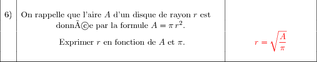 \begin{array}{|c|c|c|}&&\ 6)&\text{On rappelle que l'aire }A\text{ d'un disque de rayon }r\text{ est }\ \ \,\,&\&\text{donnée par la formule }A=\pi\,r^2.&\&\text{ Exprimer }r\text{ en fonction de }A\text{ et }\pi.&\ \ \ \ \ \ \ \ \ {\red{r=\sqrt{\dfrac{A}{\pi}}}}\ \ \ \ \ \ \ \ \ \,\&&\\hline \end{array}