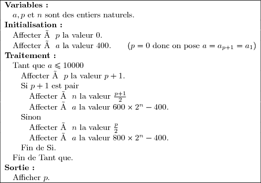 \begin{array}{|l|}  \hline  \textbf{Variables :}\ \quad a,p\text{ et }n\text{ sont des entiers naturels.}\  \textbf{Initialisation :}\ \quad\text{Affecter à }p\text{ la valeur 0.}\ \quad\text{Affecter à }a\text{ la valeur }400.\qquad(p=0\text{ donc on pose }a=a_{p+1}=a_1)\  \textbf{Traitement :}\ \quad\text{Tant que }a\le10000\  \quad\quad\text{Affecter à }p\text{ la valeur }p+1.\  \quad\quad\text{Si }p+1\text{ est pair}\  \quad\quad\quad\text{Affecter à }n\text{ la valeur }\frac{p+1}{2}\  \quad\quad\quad\text{Affecter à }a\text{ la valeur }600\times2^n-400.\  \quad\quad\text{Sinon}\  \quad\quad\quad\text{Affecter à }n\text{ la valeur }\frac{p}{2}\  \quad\quad\quad\text{Affecter à }a\text{ la valeur }800\times2^n-400.\  \quad\quad\text{Fin de Si.}\  \quad\text{Fin de Tant que.}\  \textbf{Sortie :}\  \quad\text{Afficher }p.\  \hline  \end{array}