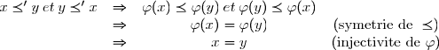 \begin{array}{cccc} x \preceq' y \: et \:  y \preceq' x & \Rightarrow & \varphi(x) \preceq \varphi(y) \: et \: \varphi(y) \preceq \varphi(x)&\\ & \Rightarrow & \varphi(x)=\varphi(y)& (\text{symetrie de } \preceq)\\ & \Rightarrow & x=y & (\text{injectivite de } \varphi)\\ \end{array}