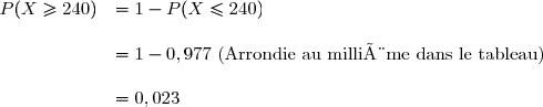 \begin{array}{cl} P(X\geq 240)&= 1-P(X\leq 240)\\\\&=1-0,977 \text{ (Arrondie au millième dans le tableau)}\\\\&=0,023 \end{array}