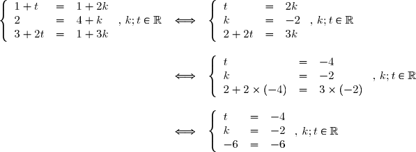 \begin{array}{lll}\left\lbrace\begin{array}{lll} 1+t&=&1+2k \\ 2&=&4+k \\3+2t&=& 1+3k \end{array} \text{ , }k;t\in\mathbb{R}&\Longleftrightarrow & \left\lbrace\begin{array}{lll} t&=&2k \\ k&=&-2 \\2+2t&=& 3k \end{array} \text{ , }k;t\in\mathbb{R} \\\\&\Longleftrightarrow & \left\lbrace\begin{array}{lll} t&=&-4 \\ k&=&-2 \\2+2\times(-4)&=& 3\times (-2) \end{array}  \text{ , }k;t\in\mathbb{R} \\\\&\Longleftrightarrow & \left\lbrace\begin{array}{lll} t&=&-4 \\ k&=&-2 \\-6&=& -6 \end{array}  \text{ , }k;t\in\mathbb{R}\end{array}