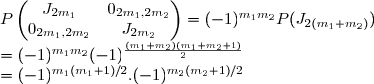 \begin{equation*} P \begin{pmatrix} J_{2m_1}&0_{2m_1,2m_2}\\0_{2m_1,2m_2}&J_{2m_2}\end{pmatrix} &= (-1)^{m_1m_2}P(J_{2(m_1+m_2)}) \\ &=(-1)^{m_1m_2}(-1)^{\frac{(m_1+m_2)(m_1+m_2+1)}{2}}\\ =(-1)^{m_1(m_1+1)/2} . (-1)^{m_2(m_2+1)/2} \end{equation}