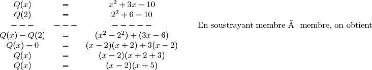 \begin{matrix} Q(x)& = &x^2+3x-10 & &  \\ Q(2)& = & 2^2+6-10 & & \\ ---& ---&---- - & &\text{ En soustrayant membre à membre, on obtient} \\ Q(x)-Q(2)&= & (x^2-2^2)+(3x-6) & & \\ Q(x)-0 & = & (x-2)(x+2)+3(x-2) & & \\ Q(x)& = &(x-2)(x+2+3) & & \\ Q(x)& =&(x-2)(x+5) & & \end{matrix}