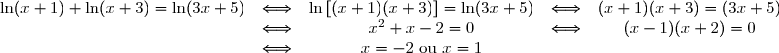 \begin{matrix}\ln (x + 1) + \ln(x + 3) = \ln (3x + 5)&\Longleftrightarrow& \ln \left[(x + 1)(x + 3)\right] = \ln (3x + 5)&\Longleftrightarrow& (x+1)(x+3)=(3x+5)\\&\Longleftrightarrow& x^2+x-2=0&\Longleftrightarrow& (x-1)(x+2)=0\\&\Longleftrightarrow& x=-2\text{ ou } x=1\end{matrix}