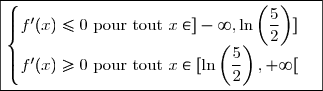 \boxed{\begin{cases}f'(x) \leq 0 \text{ pour tout } x\in ]-\infty,\ln\left(\dfrac{5}{2}\right) ]\\f'(x) \geq 0 \text{ pour tout } x\in [\ln\left(\dfrac{5}{2}\right) ,+\infty[\end{cases}}