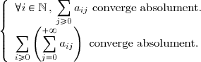 \left \lbrace \begin{array}{l}  \forall i\in\mathbb{N} \, , \, \displaystyle \sum_{j\geq 0}a_{ij} \text{ converge absolument.} \\ \displaystyle \sum_{i\geq 0} \left(\displaystyle \sum_{j=0}^{+\infty} a_{ij}\right) \text{ converge absolument.} \end{array} \right.