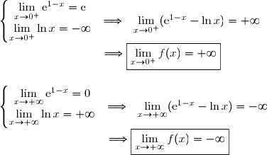 \left\lbrace\begin{matrix}\lim\limits_{x\to0^+}\text{e}^{1-x}=\text{e}\\\overset{}{\lim\limits_{x\to0^+}\ln x=-\infty}\end{matrix}\right.\ \  \Longrightarrow\ \ \lim\limits_{x\to0^+}(\text{e}^{1-x}-\ln x)=+\infty \\\phantom{WWWWWWWW}\Longrightarrow\boxed{\lim\limits_{x\to0^+}f(x)=+\infty} \\\\\\\left\lbrace\begin{matrix}\lim\limits_{x\to+\infty}\text{e}^{1-x}=0\\\overset{}{\lim\limits_{x\to+\infty}\ln x=+\infty}\end{matrix}\right.\ \ \Longrightarrow\ \ \lim\limits_{x\to+\infty}(\text{e}^{1-x}-\ln x)=-\infty \\\phantom{WWWWWWWW..}\Longrightarrow\boxed{\lim\limits_{x\to+\infty}f(x)=-\infty}