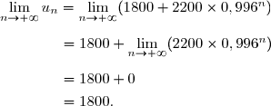 \lim\limits_{n\to+\infty}u_n=\lim\limits_{n\to+\infty}(1800+2200\times0,996^n)\\\\\dfrac{}{}\ \ \ \ \ \ \ \ \ \ \ =1800+\lim\limits_{n\to+\infty}(2200\times0,996^n)\\\\\dfrac{}{}\ \ \ \ \ \ \ \ \ \ \ =1800+0\\\dfrac{}{}\ \ \ \ \ \ \ \ \ \ \ =1800.