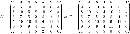 N = \begin{pmatrix} 4&9&8&5&5&9&2 \\ 9&6&10&7&10&6&4\\ 8&10&5&8&10&9&4\\ 5&7&5&2&8&4&5\\ 5&10&10&8&6&11&2\\ 9&6&9&4&11&4&6\\ 2&4&4&5&2&6&0\\ \end{pmatrix} \text{ et }  T = \begin{pmatrix} 4&9&8&4&5&9&1\\ 9&6&10&6&10&6&4\\ 8&10&8&4&10&9&4\\ 5&7&5&2&8&4&5\\ 5&8&10&8&6&11&0\\ 9&6&9&4&11&4&6\\ 1&4&4&5&0&6&0\\ \end{pmatrix}