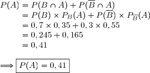 P(A)= P(B\cap A)+P(\overline{B}\cap A) \\\phantom{P(A)}=P(B)\times P_B(A)+P(\overline{B})\times P_{\overline{B}}(A)\ \\\phantom{P(A)}=0,7\times0,35+0,3\times0,55 \\\phantom{P(A)}=0,245+0,165 \\\phantom{P(A)}=0,41 \\\\\Longrightarrow\boxed{P(A)=0,41}