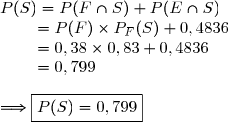 P(S)=P(F\cap S)+P(E\cap S)\\\phantom{p(S)}=P(F)\times P_{F}(S)+0,4836\\\phantom{p(S)}=0,38\times0,83+0,4836\\\phantom{p(S)}=0,799\\\\\Longrightarrow\boxed{P(S)=0,799}