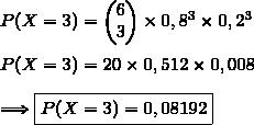 P(X=3)=\begin{pmatrix}6\\3\end{pmatrix}\times0,8^3\times0,2^{3}\\\\P(X=3)=20\times0,512\times0,008\\\\\Longrightarrow\boxed{P(X=3)=0,08192}