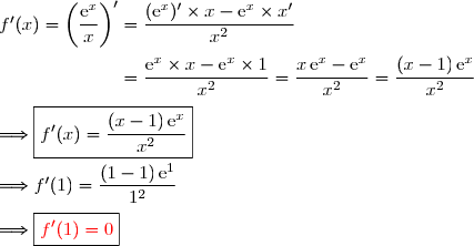 f'(x)=\left(\dfrac{\text{e}^x}{x}\right)'=\dfrac{(\text{e}^x)'\times x-\text{e}^x\times x'}{x^2} \\\\\phantom{f'(x)=\left(\dfrac{\text{e}^x}{x}\right)'}=\dfrac{\text{e}^x\times x-\text{e}^x\times 1}{x^2} =\dfrac{x\,\text{e}^x-\text{e}^x}{x^2} =\dfrac{(x-1)\,\text{e}^x}{x^2} \\\\\Longrightarrow \boxed{f'(x)=\dfrac{(x-1)\,\text{e}^x}{x^2}} \\\\\Longrightarrow f'(1)=\dfrac{(1-1)\,\text{e}^1}{1^2} \\\\\Longrightarrow \boxed{{\red{f'(1)=0}}}