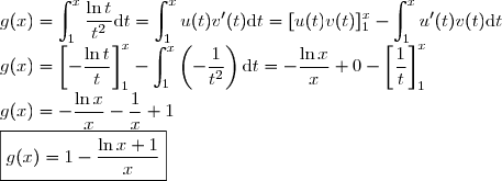g(x) = \displaystyle \int_1^x\frac{\ln t}{t^2} \text{d}t = \displaystyle \int_1^x u(t)v'(t) \text{d}t = [u(t)v(t)]_1^x - \displaystyle \int_1^x u'(t) v(t) \text{d}t\\ g(x) = \left[-\frac{\ln t}{t}\right]_1^x - \displaystyle \int_1^x \left(-\frac{1}{t^2}\right) \text{d}t = -\frac{\ln x}{x} + 0 - \left[\frac{1}{t}\right]_1^x\\ g(x) = -\frac{\ln x}{x} - \frac{1}{x} + 1\\ \boxed{g(x) = 1 - \frac{\ln x + 1}{x}}