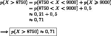 p(X>8750)=p(8750<X<9000)+p(X\ge9000)\\\phantom{p(X<9500)}=p(8750<X<9000)+0,5\\\phantom{p(X<9500)}\approx0,21+0,5\\\phantom{p(X<9500)}\approx0,71\\\\\Longrightarrow\boxed{p(X>8750)\approx0,71}