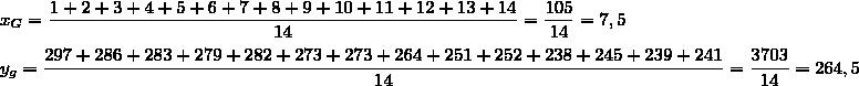 x_G=\dfrac{1+2+3+4+5+6+7+8+9+10+11+12+13+14}{14}=\dfrac{105}{14}=7,5\\\\y_g=\dfrac{297+286+283+279+282+273+273+264+251+252+238+245+239+241}{14}=\dfrac{3703}{14}=264,5